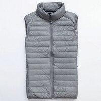 2015 Autumn Winter Ultra Light Duck Down Vests Men Thin Waistcoats Stand Up Collar Pleated Zipper