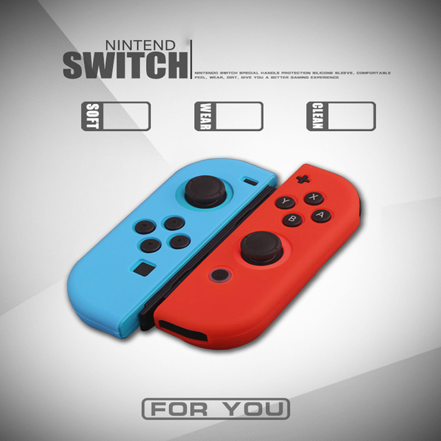 Dustproof Soft Silicone Protective Case Skin Cover for Nintend Switch NS Joy-Con Case&2 Analog Thumbstick Grips Joystick Caps 5
