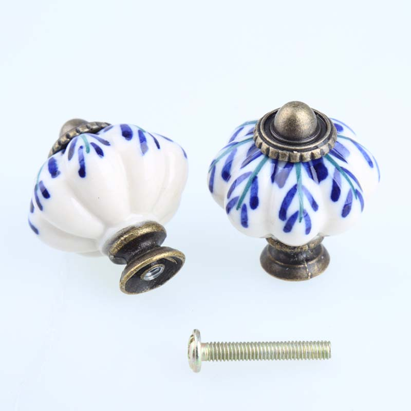 32mm White And Blue Porcelain Drawer Cabinet Knobs Pulls