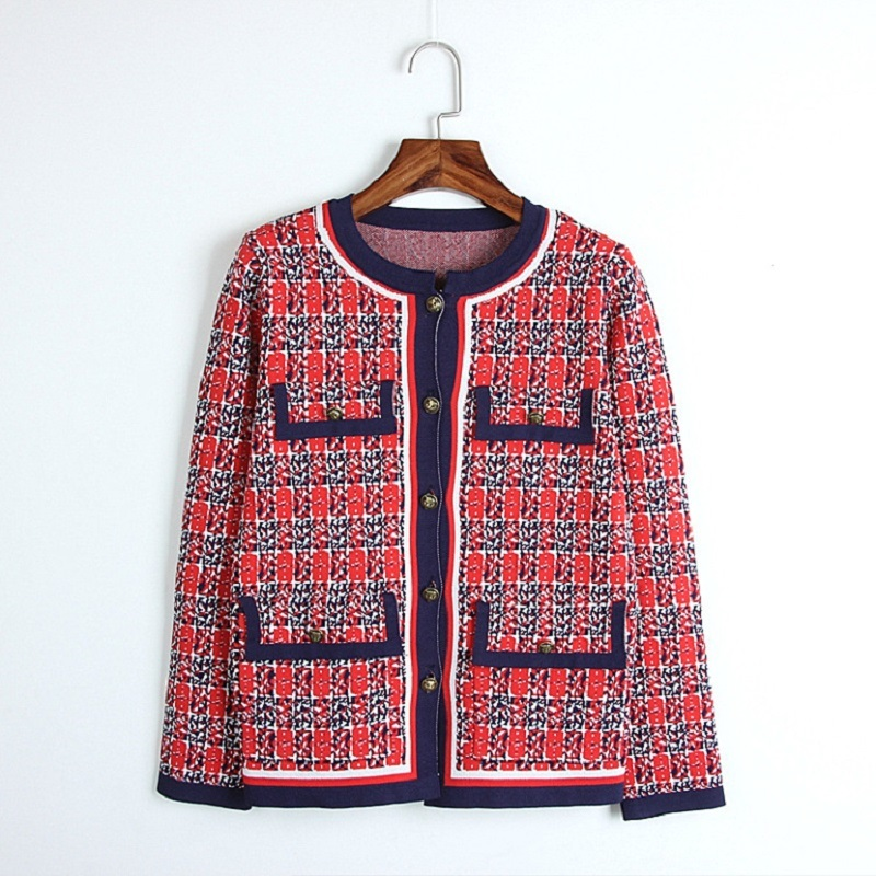 2018 hiver rouge tricot pull femmes luxe piste Design Plaid tigre bouton poches manteau de tricot pull Cardigan femme vêtements