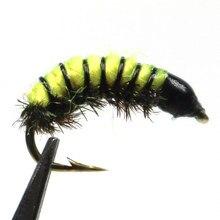 Icerio 8 pçs mosca amarrando scud nymph/zebra midge nymph voar 12 # cor amarelo oliva laranja gengibre amarelo
