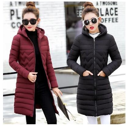 2017 winter new women women in the long section of cotton clothes Slim thick down jacket Korean women's winter jacket women's wi sky blue cloud removable hat in the long section of cotton clothing 2017 winter new woman