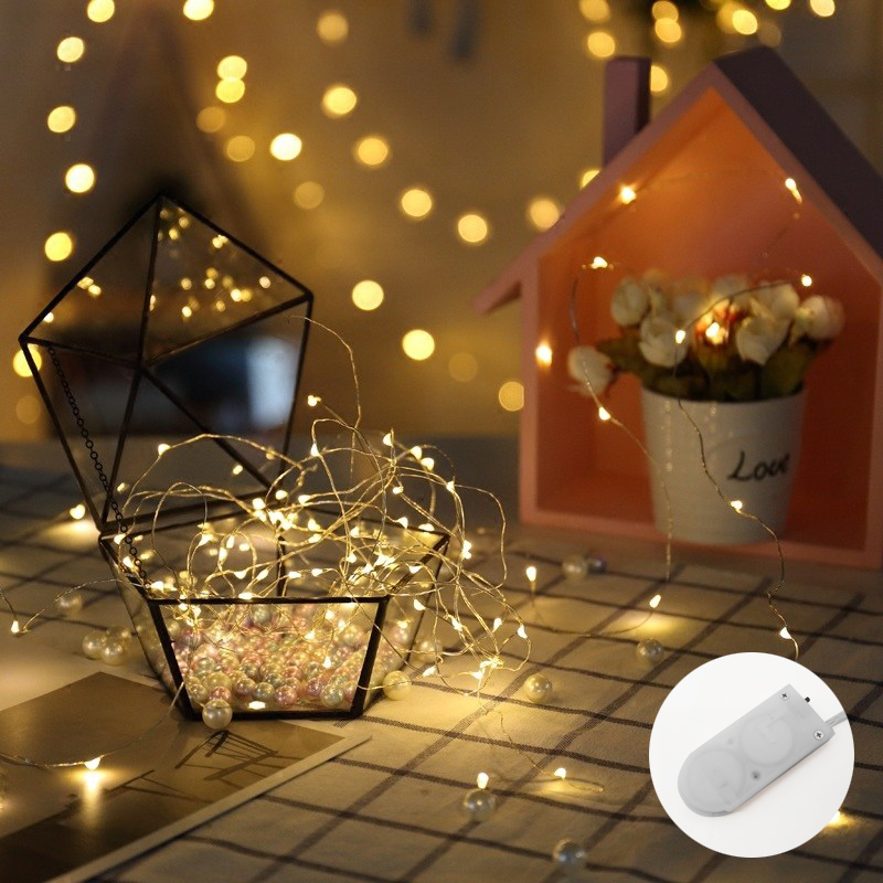 LYFS 10M 100LED Button Battery String Lights Copper Wire LED Lights Decoration Fairy Lights For Birthday Party Garland Wedding