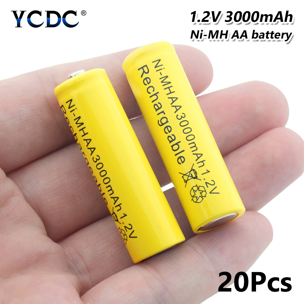 Batteries High Performance Ni-mh Aa Battery 1.2v 3000mah Rechargeable Li-ion Cell 20pcs For Laser Pen Led Flash Light Cell Battery Holder Power Source