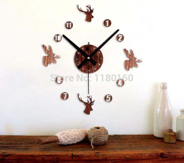 Canadian Style Diy Deer Head Wall Clock Elk Reindeer Moose Watch Home