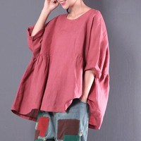 2018 New Spring Women Round Neck Short Sleeve Loose Blouse Cotton Linen Vintage Simple Plain Blusas