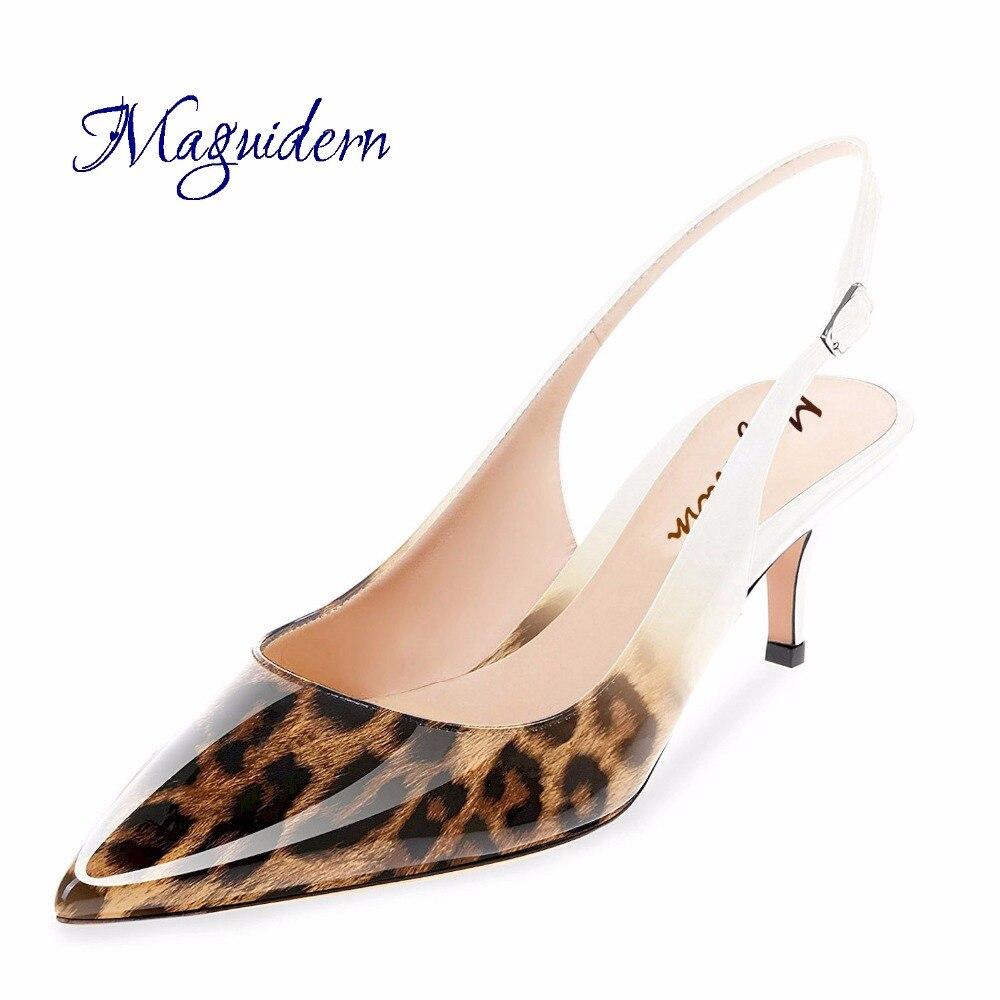 Maguidern plusieurs couleurs chaton talon sandales léopard cuir verni bout pointu Slingback boucle cheville sangle chaussures à talons bas