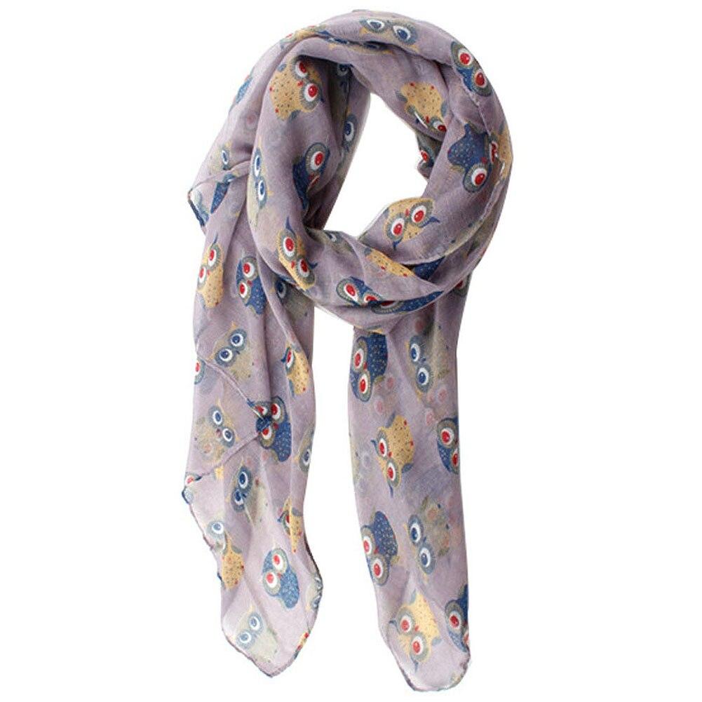 Nouveau mode automne Chaud femmes foulards imprimé animal hibou écharpe  mignon écharpe hibou avec la branche voile long châle marine bleu 479eadc76ad