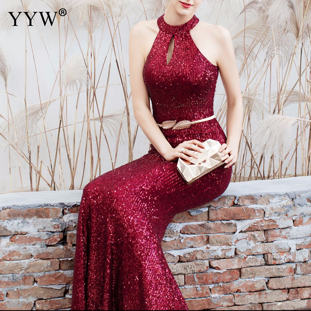Elegant Sequined Halter Sleeveless Mermaid Long Evening Dress 2