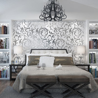 1x 10M Modern Eco Friendly Luxury Silver 3D Victorian Damask Embossed Wallpaper Rolls Home Art Decor