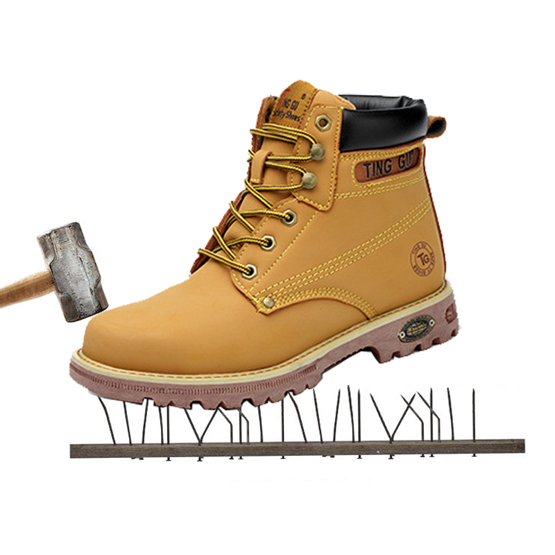 High helper boots yellow cattle tendon bottom anti high tube half boots safety training boots protective shoes. цена