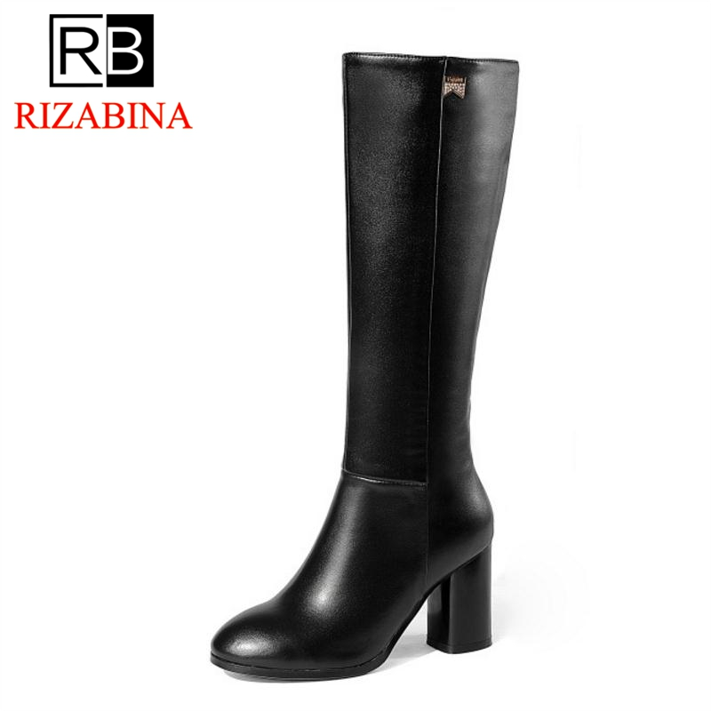 RizaBina Size 33-45 Women High Heels Boots Genuine Leather Winter Woman Shoes Thick Heels Knee Boots Fashion Warm Long Boots new 2015 woman fashion genuine leather long winter boots ladies high quality warm footwear platform women shoes boots size 33 40