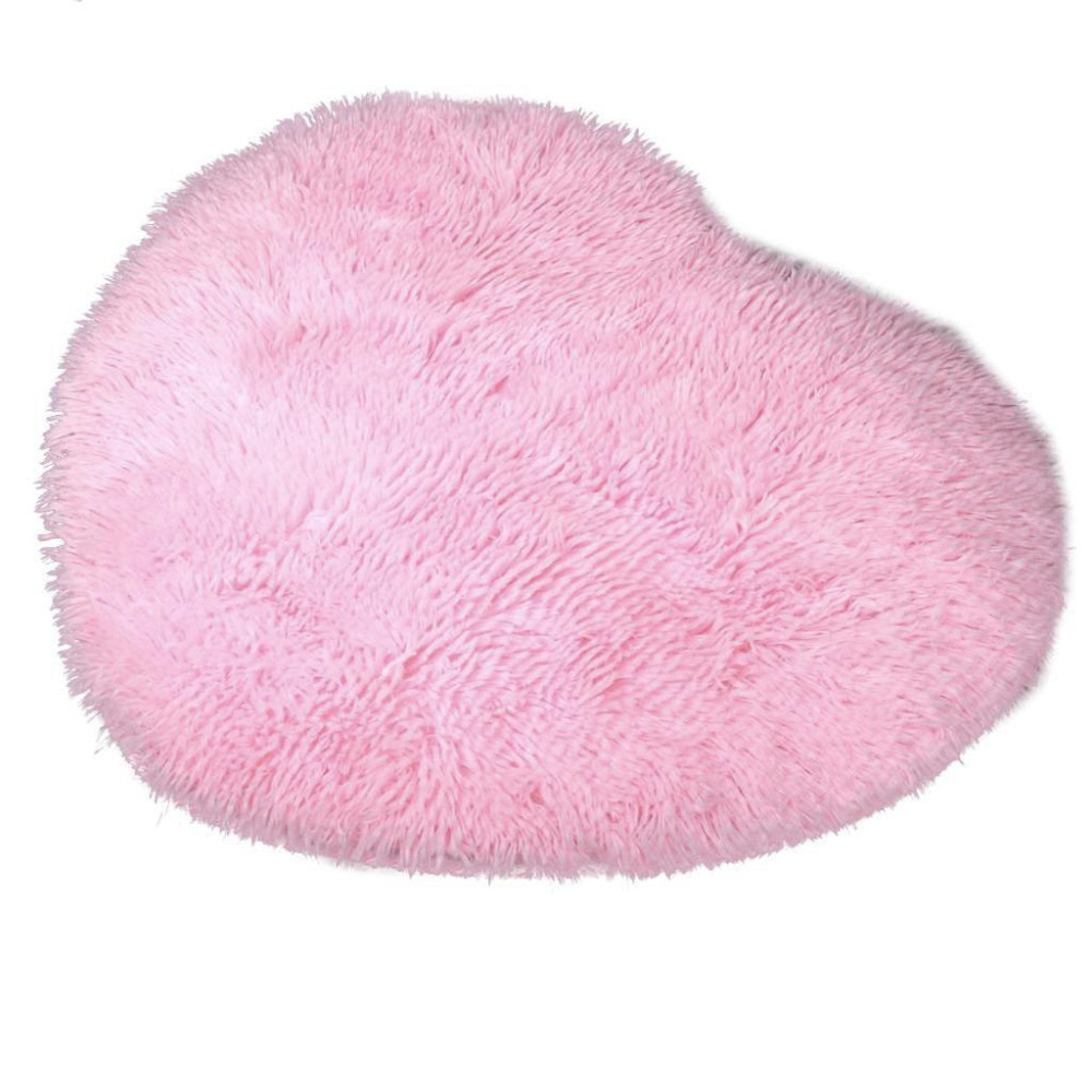 50cm X 60 Cm Soft Heart Design Fluffy Mat Rug Faux Fur Floor Carpet For  Bedroom