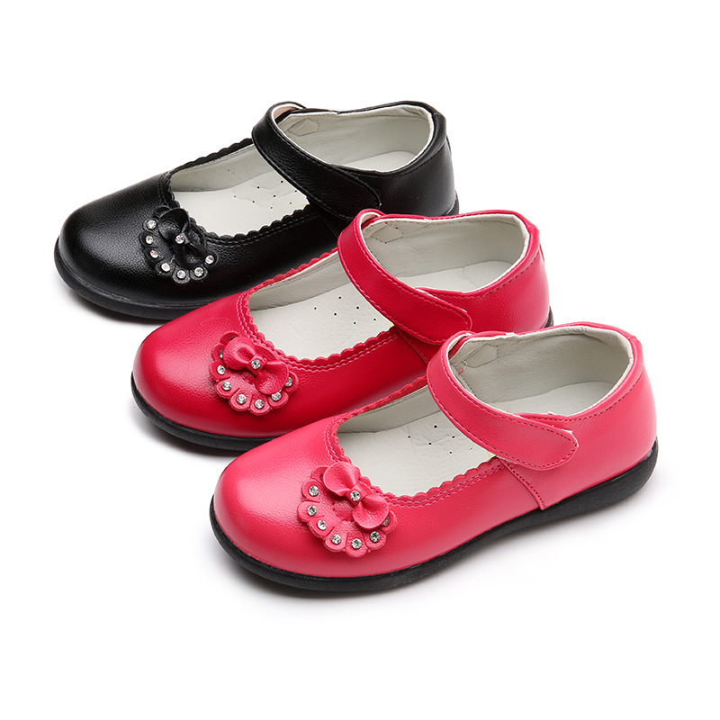 2018NEW Spring Autumn Childrens leather shoes Baby Girls Shoes flowers student Kids for Wedding Party