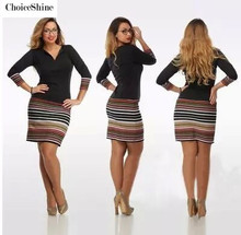ChoiceShine 2016 Woman Dress Casual Sheath Print Full Mid-calf Natural V-neck Autumn Dresses Plus Size Dress Sexy Office Dress