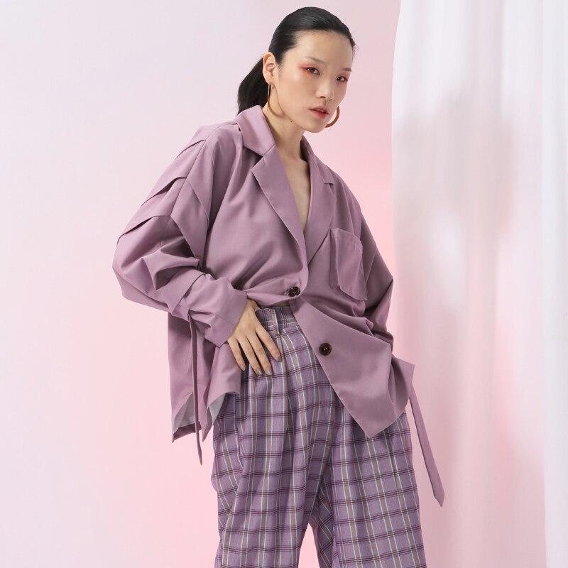 À Abricot purple Longues 2019 Nouveau Ji586 Taille Marée Apricot Femmes Printemps De Manches Mode Manteau Grande Lâche Veste Point Revers Ruban eam BxI0fwBq