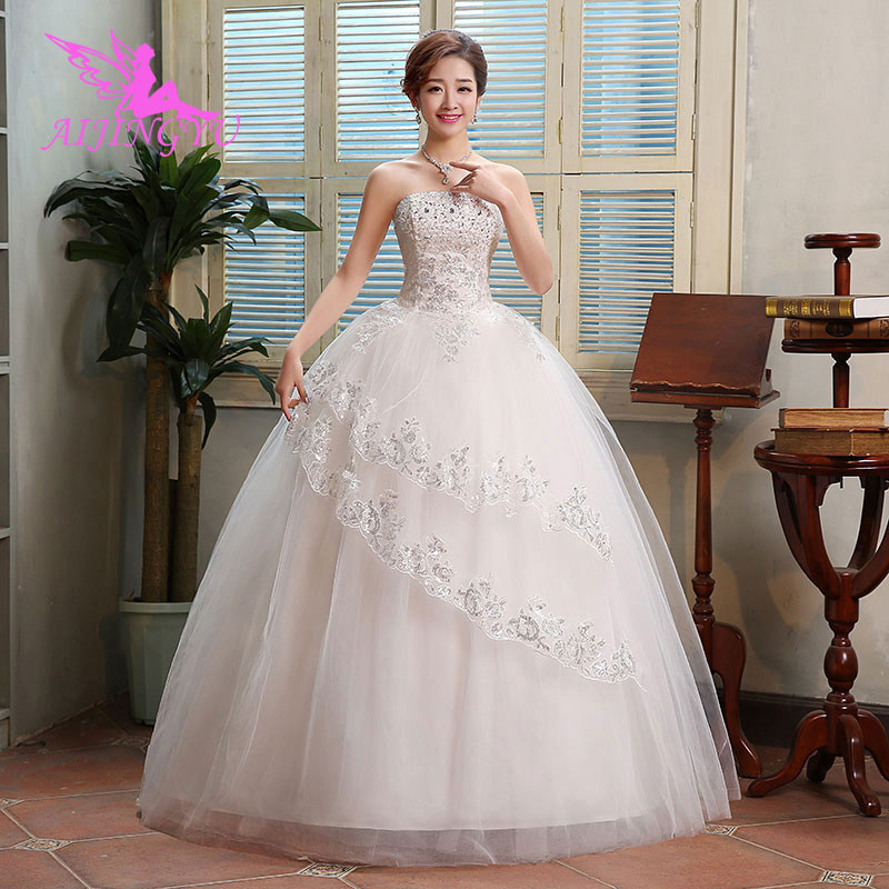 AIJINGYU 2018 sexy free shipping new hot selling ball gown lace up back formal bride dresses wedding dress WU280