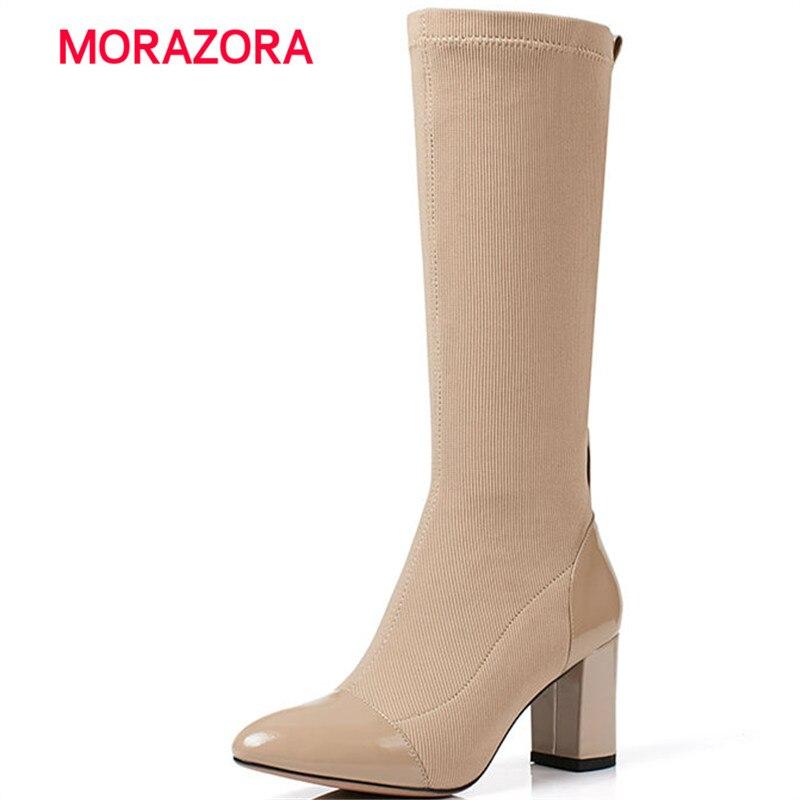 все цены на MORAZORA big size pointed toe high heel women boots metal decoration square heel Knight boots autumn winter mid calf boots