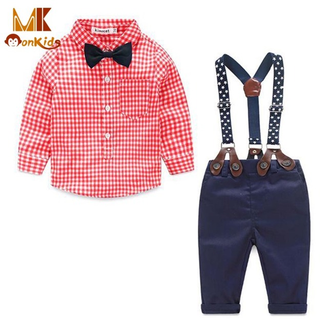 Monkids 2017 Autumn Baby Clothing 2 Pieces Baby Boy Clothes Baby Boy Clothing Set Plaid Bow Shirt+Cotton Suspenders Pants