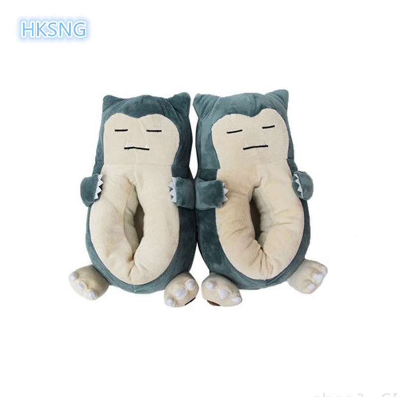 HKSNG Winter Warm Home Slippers Cartoon Pet Elf Beast Shoes Snorlax Cute Animal Chausson Adult Funny Pokemon Indoor Kigurumi