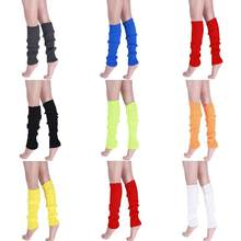 d339f4b42f 1 Pair Women Solid Color Knit Winter Leg Warmers Knee High Legging Boot  Women Girls Yoga