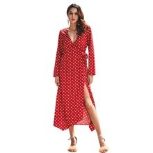 Womens 2019 spring new temperament commuter wave long sleeve dress women  bandage N30D