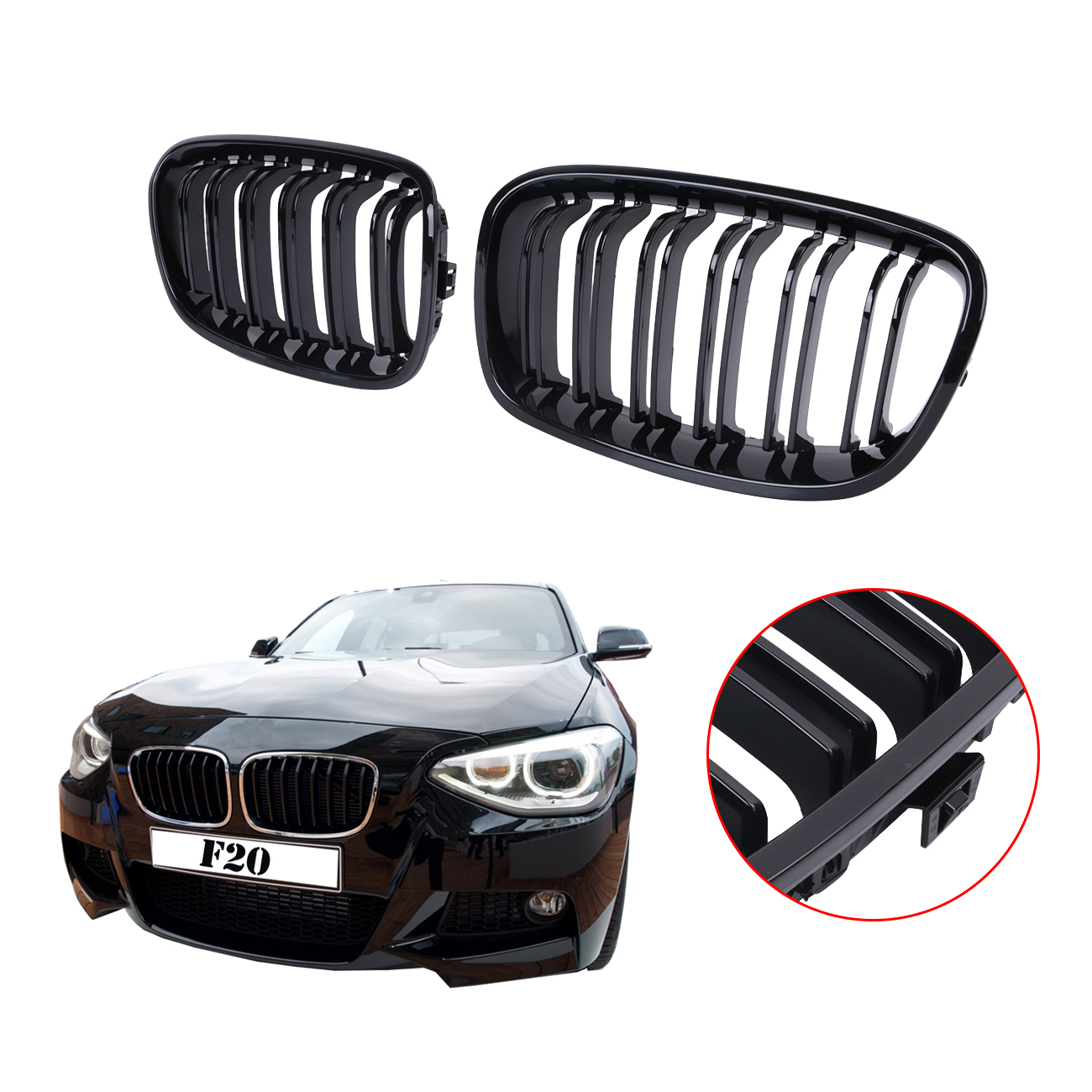 Double Slat Front Grille Kidney Grills For BMW LCI F20 F21 M Sport 118i 120i 125i 2010 2011 2012 2013 2014 Glossy Black #P456 2016 new a pair front grilles left and right double line grille gloss black front grills for bmw 3 series e46 2002 2004 4 door