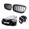 Double Slat Front Grille Kidney Grills For BMW LCI F20 F21 M Sport 118i 120i 125i 2010 2011 2012 2013 2014 Glossy Black #P456