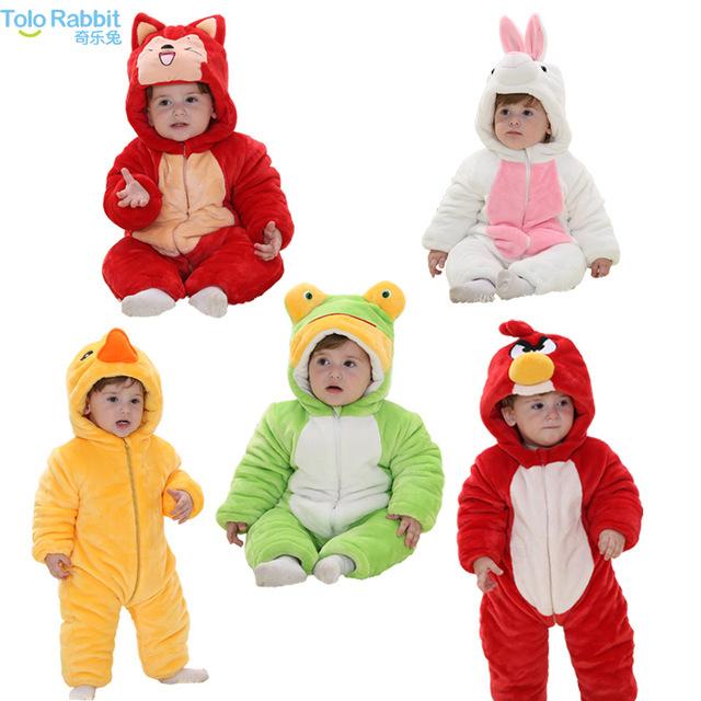Moda bebê recém-nascido menina roupas animais charactor inverno macacão bebê menina traje de halloween