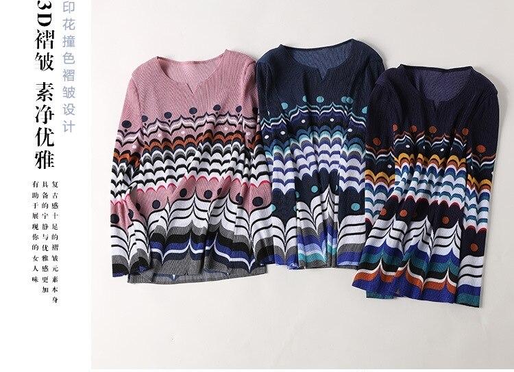 shirt Col Ensemble Mince Gratuite Manches Plier Stock Marine pourpre V En T Jupe Impression Bleu rose Miyake À Longues Livraison Costume Asymétrique nwPk8O0