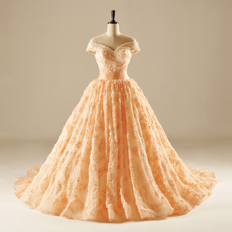 gorgeous orange lace flowers off the shoulder ball gown beading crystal formal wedding dresses custom made bridal dress