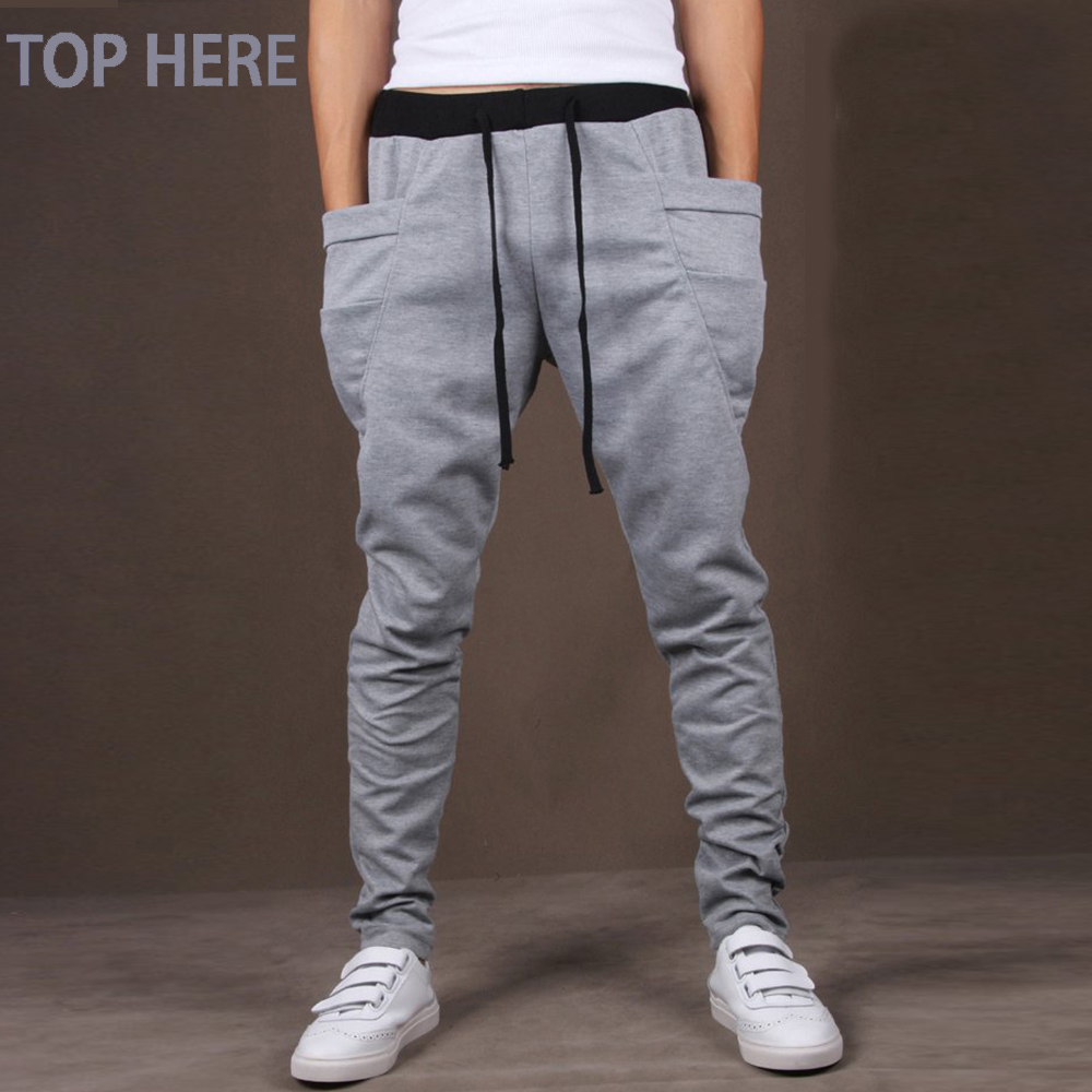 Casual Men Pants Unique Big Pocket Hip Hop Harem Pants Quality Outwear Sweatpants Casual Mens Joggers TOP HERE Men's Trousers(China)