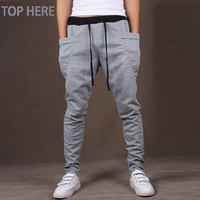 2016 New Arrival Casual Men Pants Line Printed Hip Hop Harem Fitness High Quality Summer Style