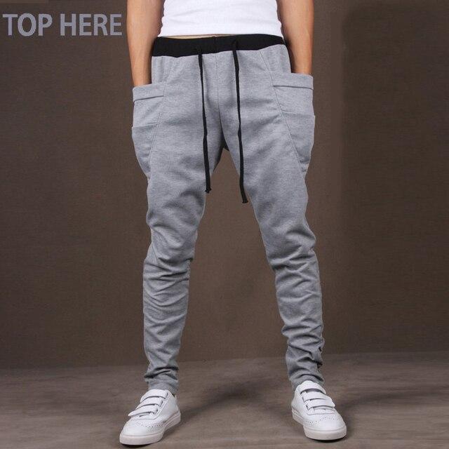 カジュアルな男性のパンツユニークなビッグポケットヒップホップハーレムパンツ品質生き抜くスウェットパンツカジュアルメンズジョギングトップここメンズズボン