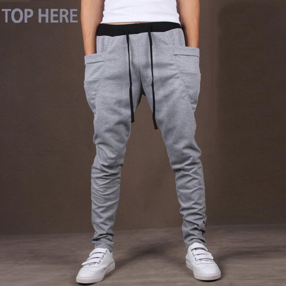 Calças Dos Homens casuais Único Big Bolso Hip Hop Harem Pants Qualidade dos homens Outwear Mens Corredores Sweatpants Casuais TOP AQUI calças