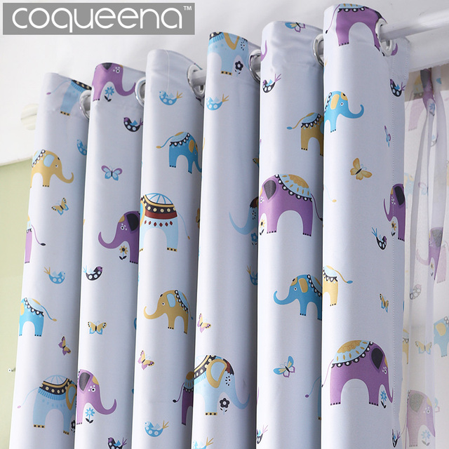 Cartoon Elephant Curtains Drapes Window Panel For Living Room Baby Bedroom Decor Kids Children Curtain Girl Boys Holiday Gift