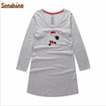2017 Spring Brand Homewear Women Casual Cotton nightgown Character nightdress Female Long sleeve V-neck collar plus size dress