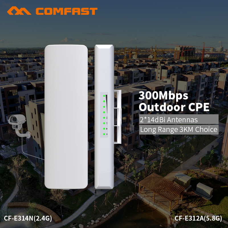 COMFAST 300mbs router bridge wifi router outdoor CPE wireless repeater outdoor wifi repeater for long range transmission project comfast ac200 orange os system full gigabit wifi control ac gateway routing wireless roaming wifi coverage project manager route