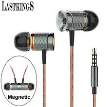 Lastkings magnética con Mic Micrófono Con Cable En La Oreja Los Auriculares auriculares para teléfonos móviles Estéreo Bass Auriculares de 3.5mm Jack