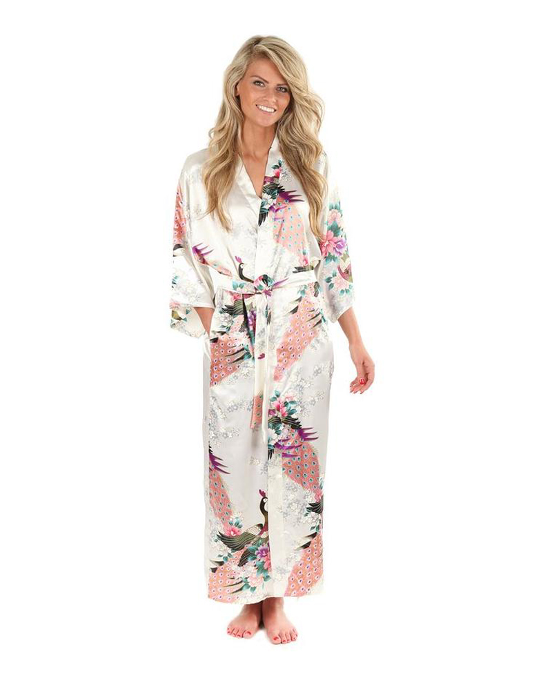 High Fashion White Silk Kimono Robe Gown Chinese Style Women Sleepwear Long Sexy Nightgown Flower Size S M L XL XXL XXXL A-044