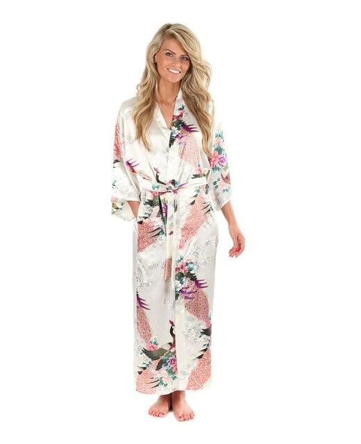 High Fashion White Silk Kimono Robe Gown Chinese Style Women Sleepwear Long  Sexy Nightgown Flower Size 140c33fd853d