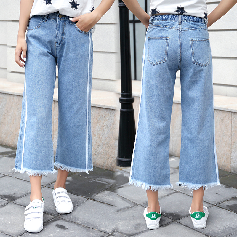 Women   Jeans   Ankle length Loose Latest Large size Denim Women's Straight Tassel Harem Pants High waist Casual Trousers