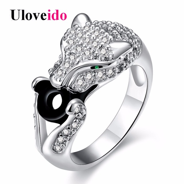 Uloveido Leopard Rings for Women Silver Color Anime Black Ring with