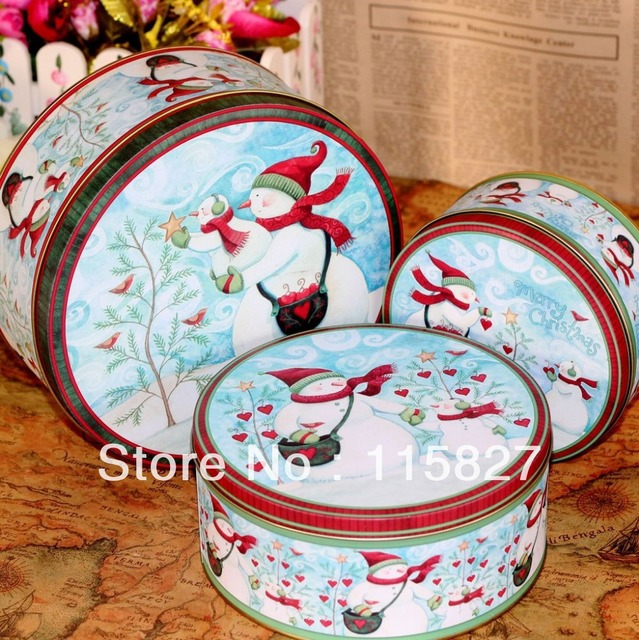 Free ShippingMerry Christmas Round Shape Christmas Storage box 3pc