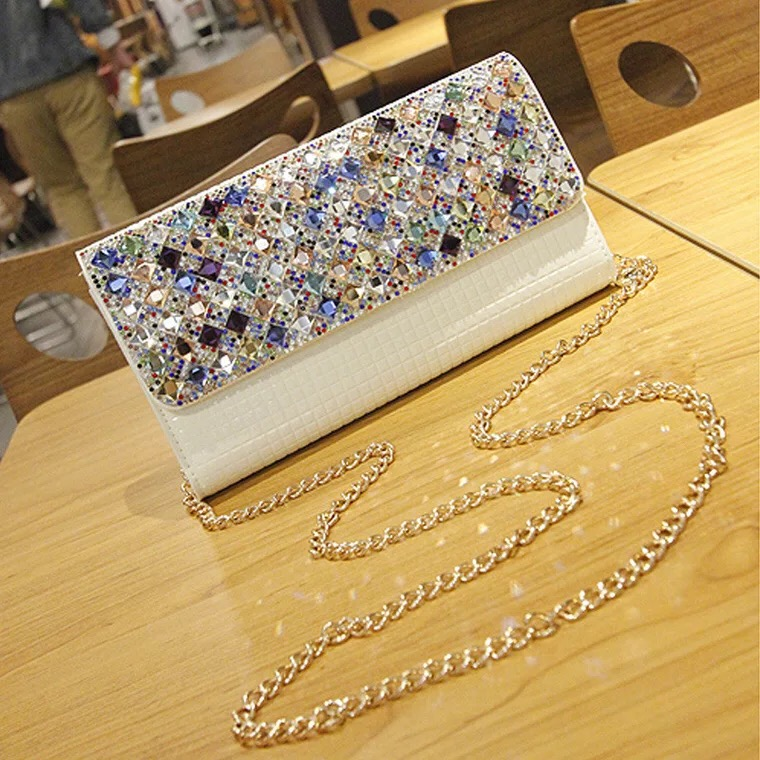 New women wallet genuine diamond Coin Purses Holder Ladies fashion multifunction chains clutch women's casual soft shoulder bag