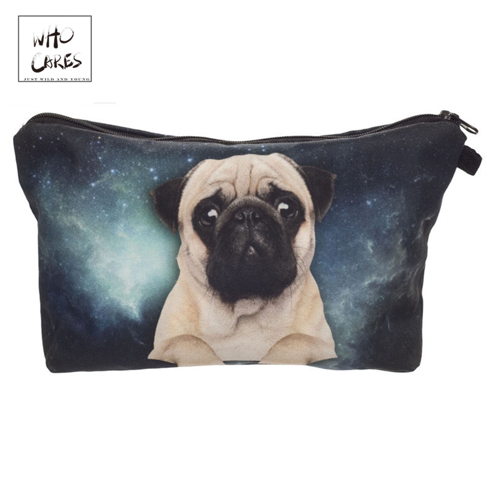 Who Cares Fashion Printing Sad Pug Makeup Bags Cosmetic Organizer Bag Pouchs For Travel Ladies Pouch Women Cosmetic Bag