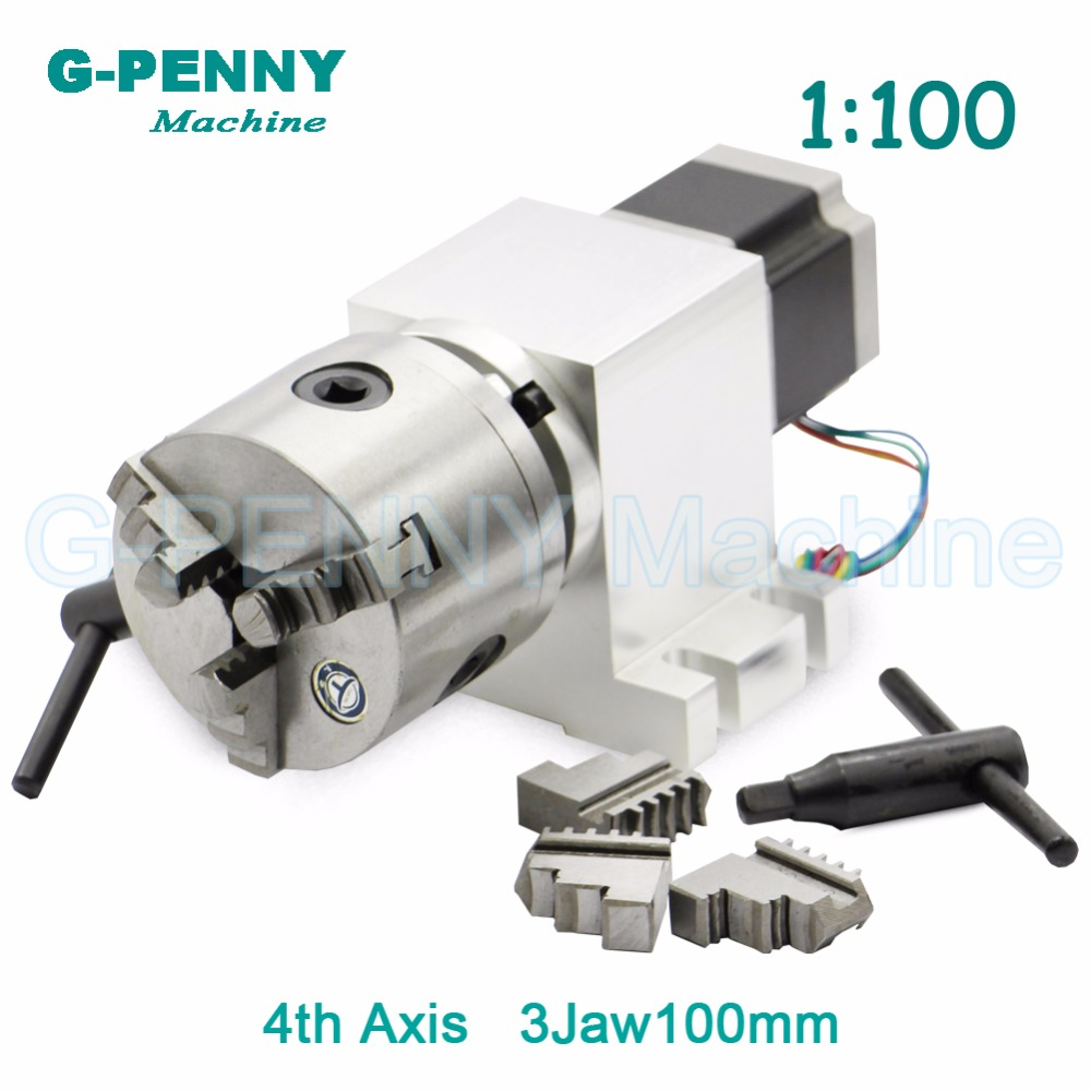 3 Jaw 100mm CNC 4th Axis CNC dividing head/Rotation Axis/A axis kit Nema23 Gapless harmonic gearbox for CNC woodworking machine3 Jaw 100mm CNC 4th Axis CNC dividing head/Rotation Axis/A axis kit Nema23 Gapless harmonic gearbox for CNC woodworking machine