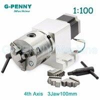 3 Jaw 100mm CNC 4th Axis CNC Dividing Head Rotation Axis A Axis Kit Nema23 Gapless