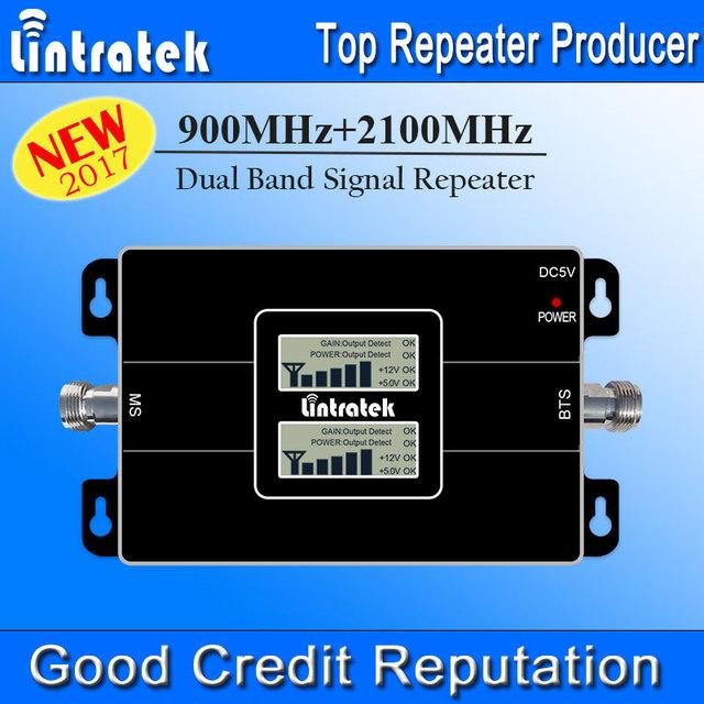 2017 nueva señal lintratek doble pantalla lcd muestra 3g gsm repetidor 900 mhz umts 2100 mhz de doble banda de teléfono celular amplificador de señal s22