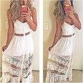 Rendas brancas vestido de verão sexy ver embora vestidos de noite clube partido Strapless vestidos